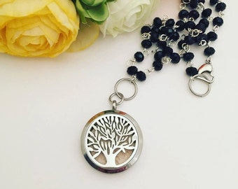 Stainless Steel Essential Oil Diffuser Necklace - Essential Oil Necklace - Diffuser Locket - Aromatherapy Necklace - Rosary Bead Chain