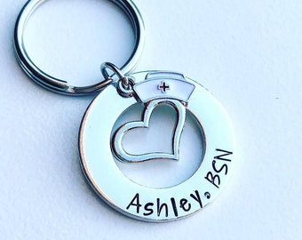 Nurse Personalized Keychain // Personalized BSN Nurse Keychain // Nursing Student Keychain // Hand Stamped Key Chain // Nursing Graduation