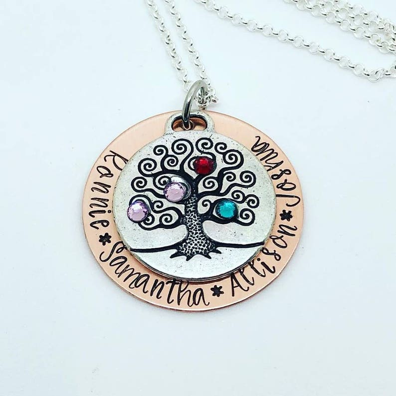 Custom Family Necklace  Hand Stamped Personalized Family Tree image 0