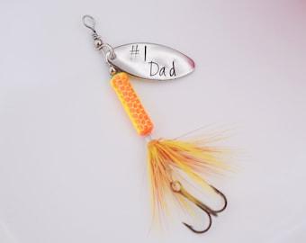 Fathers Day Fishing Lure - #1 Dad Lure - Dad Lure Gift - Hand Stamped Gift for Dad - Daddy - Grandpa - Papa Gift - Hooked on Dad