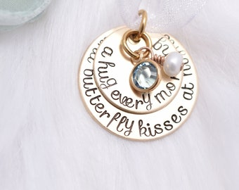 Wedding Bouquet Charm Gold / Bronze Bridal Bouquet Charm / A hug every morning and butterfly kisses at night / Dad Daughter Wedding