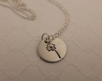 Dandelion Stamped Necklace - Dandelion Wish Necklace - Hand Stamped Jewelry - HandStamped Necklace - Personalized Jewelry