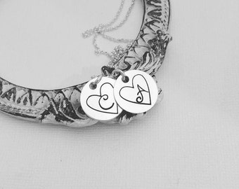 Valentine Heart Necklace - Personalized Initial Necklace - Sterling Silver Jewelry - Hand Stamped Necklace - Heart Jewelry - Custom