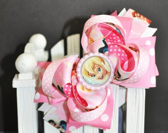 Pink Tinkerbell Cute bow for babies, toddlers and big girls ~ Bow measures approximately 5.5 inches