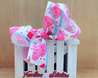 4 inch  Peppa Pig Cute bow for babies, toddlers and big girls ~