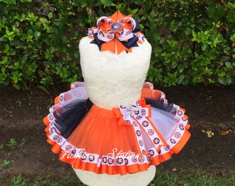 Football Sewn Ribbon Trimmed TuTu ~~~Optional Matching Over The Top Hair Bow Available~~Ready For FootBall Season~~~