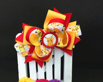 Pikachu Cute bow for babies, toddlers and big girls ~ Bow measures approximately 5.5 inches