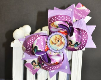 Purple Tinkerbell Cute bow for babies, toddlers and big girls ~ Bow measures approximately 5.5 inches