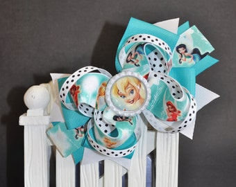 Aqua Tinkerbell Cute bow for babies, toddlers and big girls ~ Bow measures approximately 5.5 inches
