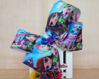 7 inch  Jumbo Cute bow for babies~~ Little Petshop Printed Bows~~Birthday Bows~~ toddlers and big girls ~
