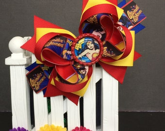 Wonder Woman Cute bow for babies, toddlers and big girls ~ Bow measures approximately 5.5 inches