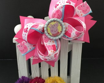 Peppa pig Cute bow for babies, toddlers and big girls ~ Bow measures approximately 5.5 inches
