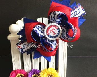 Texas Rangers Hair Bow~~ Cute bow for babies, toddlers and big girls ~ Bow measures approximately 5.5 inches