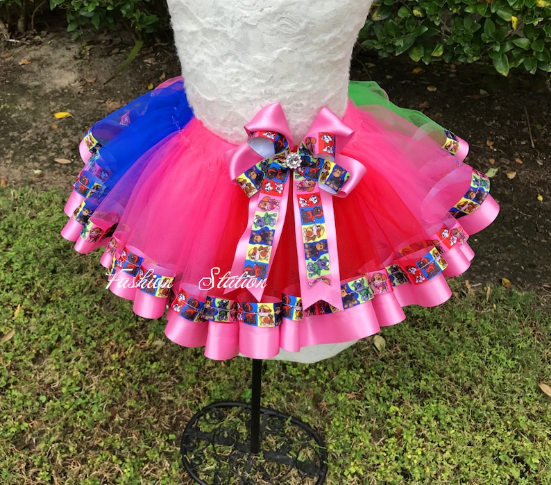 Paw Patrol Sewn Ribbon Tutu~~~ Ribbon Trimmed TuTu~~~Optional Matching Over The Top Hair Bow Available~~