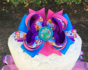 Bubble Guppy Over The Top Cute bow for babies, toddlers and big girls ~ Bow measures approximately 6.5 inches