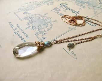 Meadow / Julia crystal drop necklace large