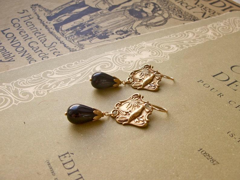 Birds of Peace Paradise Garden earrings in black image 0