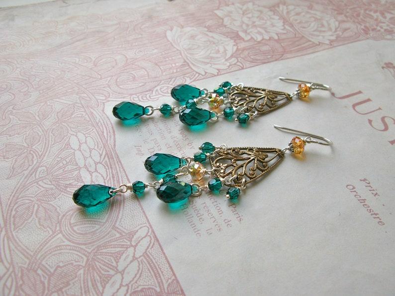 Crystal Chandelier earrings in emerald green image 0