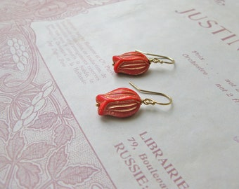 Vintage Summer Tulips earrings in poppy red