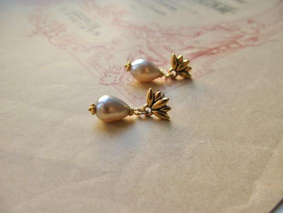 Lotus earrings in vintage...