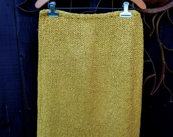 Vintage 1950's Golden Yellow Crochet Ribbon Skirt, Unique Vintage, Vintage Ribbon Skirt, Retro, Mod, Ribbon Pencil Skirt