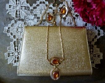 Vintage 1960's Gold Handbag and Gold*Tone Necklace Set with Amber Color Stone, Vintage Handbag and Jewerly Set, Retro, Mod, Mad Men Fashion