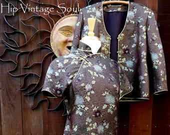 REDUCED, Vintage 1950's Brown Asian Dress and Jacket Set, Cheongsam/Jacket Suit, Vintage Chinese Dress, Asian, Ethnic