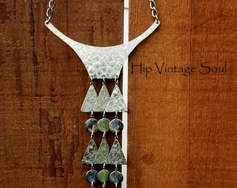 Vintage 1960's Necklace, 60s Bib Dangle Necklace, Funky, Mod, Bohemian, Hippie, Belly Dancer