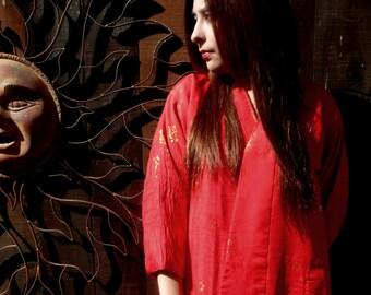 REDUCED, Vintage Red Asian Coat, Kimono Style Coat, Oriental Coat, Ethnic, Red Coat