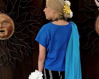 Vintage 1970's Black/Silver Maxi Woven Wrap Skirt, 70's Wrap Skirt, Ethnic, Bohemian, Folk