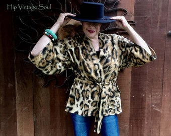 Vintage 1980's Leapard Print Cotton Wrap Top, Leapard Wrap Top, Boho Chic