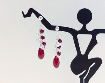 Red Crystal Cluster Earrings - FREE SHIPPING