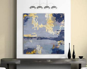 Abstract Art Painting, Blue Gold Art, Contemporary Painting, Large Canvas Art, Blue Abstract Painting, Large Abstract Painting
