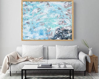 Blue Abstract Art, Large Abstract Wall Art Painting, Blue Beige Painting, Abstract Art Print, Contemporary Abstract Painting