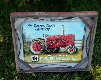 Barnwood Frame with decorative Farmall tractor