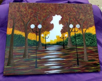 Natural Fall Trees Scenic Path Acrylic Painting