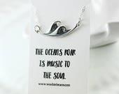 Sterling silver ocean necklace - Ocean wave - Trendy jewelry - Wanderlust jewelry - Beach jewelry - Nautical - Inspirational - Gift idea