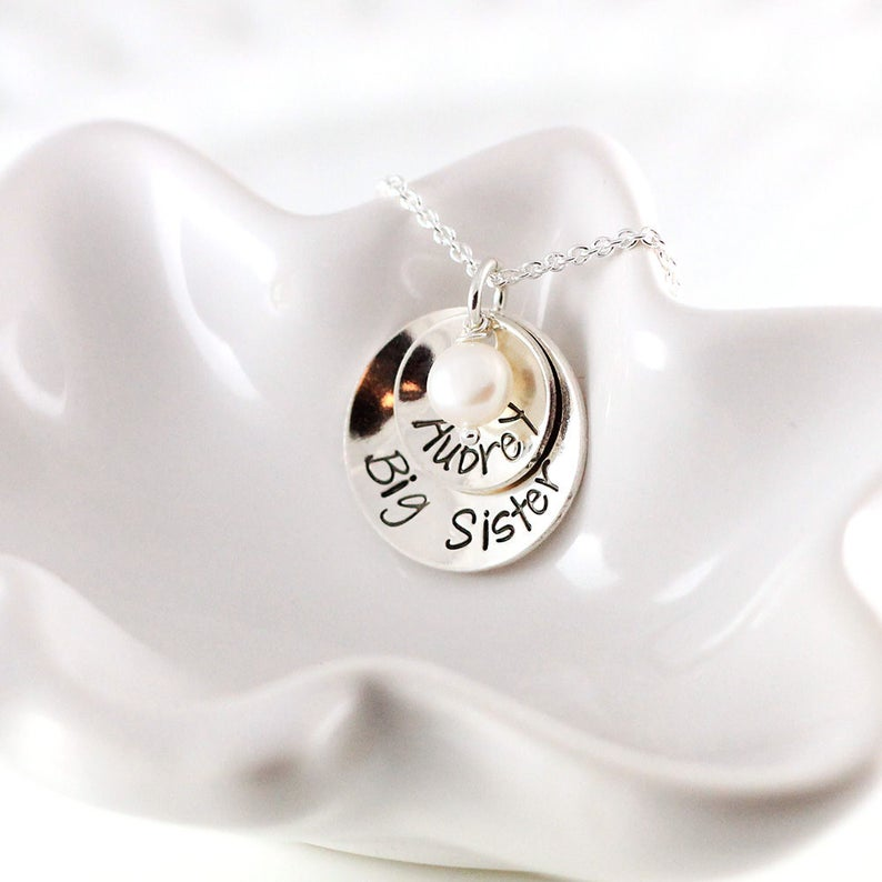 Little girl necklace Custom hand stamped Name necklace Big sister gift Personalized jewelry Sterling silver Big sister necklace