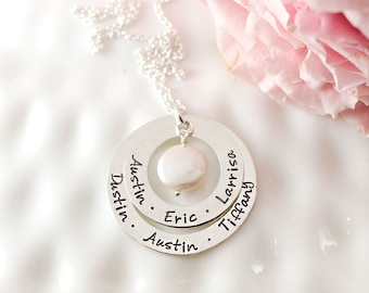 Grandmother necklace - Personalized necklace - Hand stamped jewelry - Sterling silver - Name necklace - Gift for grandma - Mothers Day