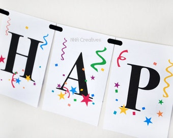 happy new year banner confetti and stars diy digital printable banner