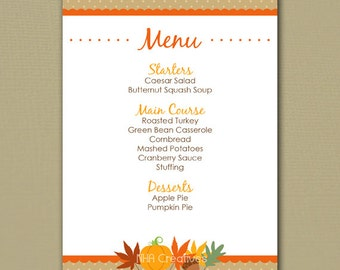 picture about Printable Thanksgiving Menu named Thanksgiving menu Etsy