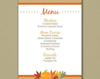 graphic about Printable Thanksgiving Menu named Thanksgiving menu Etsy
