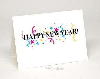 happy new year card diy printable digital file