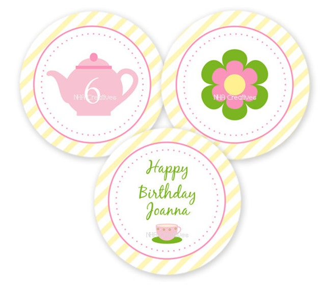 Tea Party Themed Cupcake Toppers -  Personalized DIY Printable Digital File