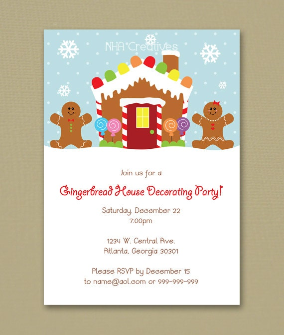 Gingerbread House Decorating Party Invitation Personalized Diy Printable Digital File