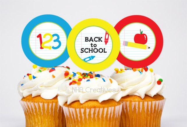 Back To School Themed Cupcake Toppers - School Supplies -  DIY Printable Digital File
