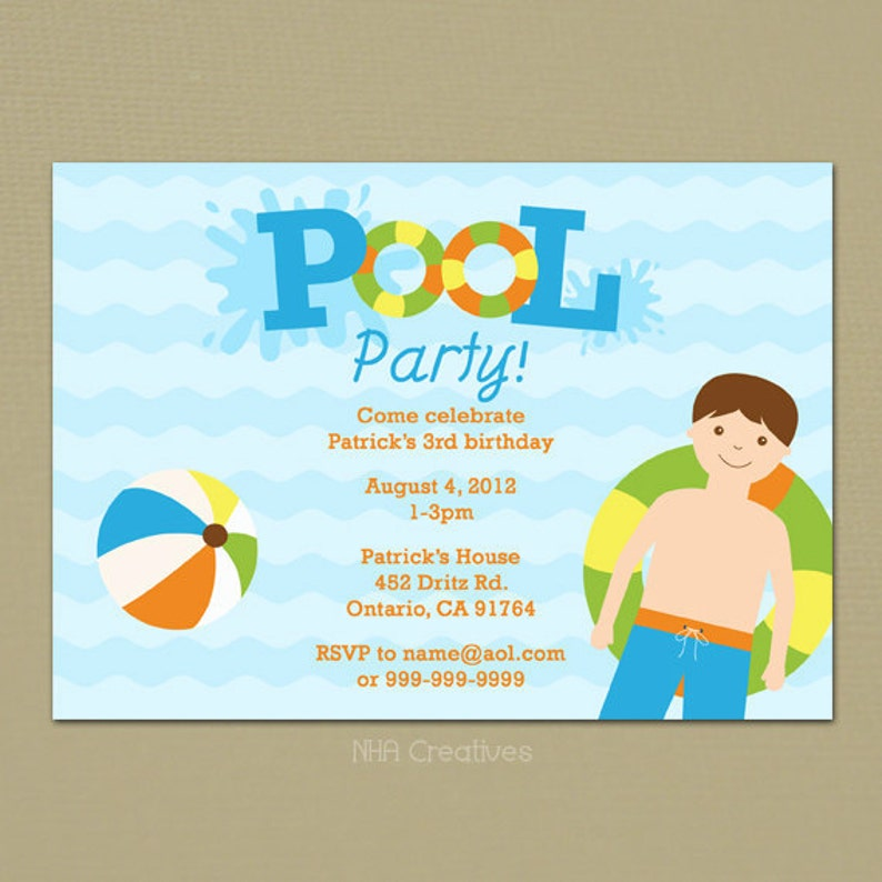Boy Pool Party Birthday Invitation Personalized DIY