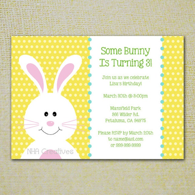 Birthday Bunny Party Invitation - Personalized DIY Printable Digital File