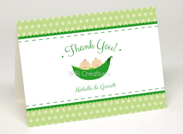 Personalized Twins Baby Shower Thank You Card 2 Peas In A Pod