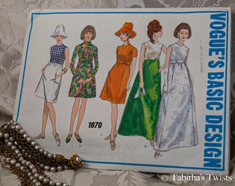 1960's Vogue Basic Design A-line Dress with Pockets in Five Styles